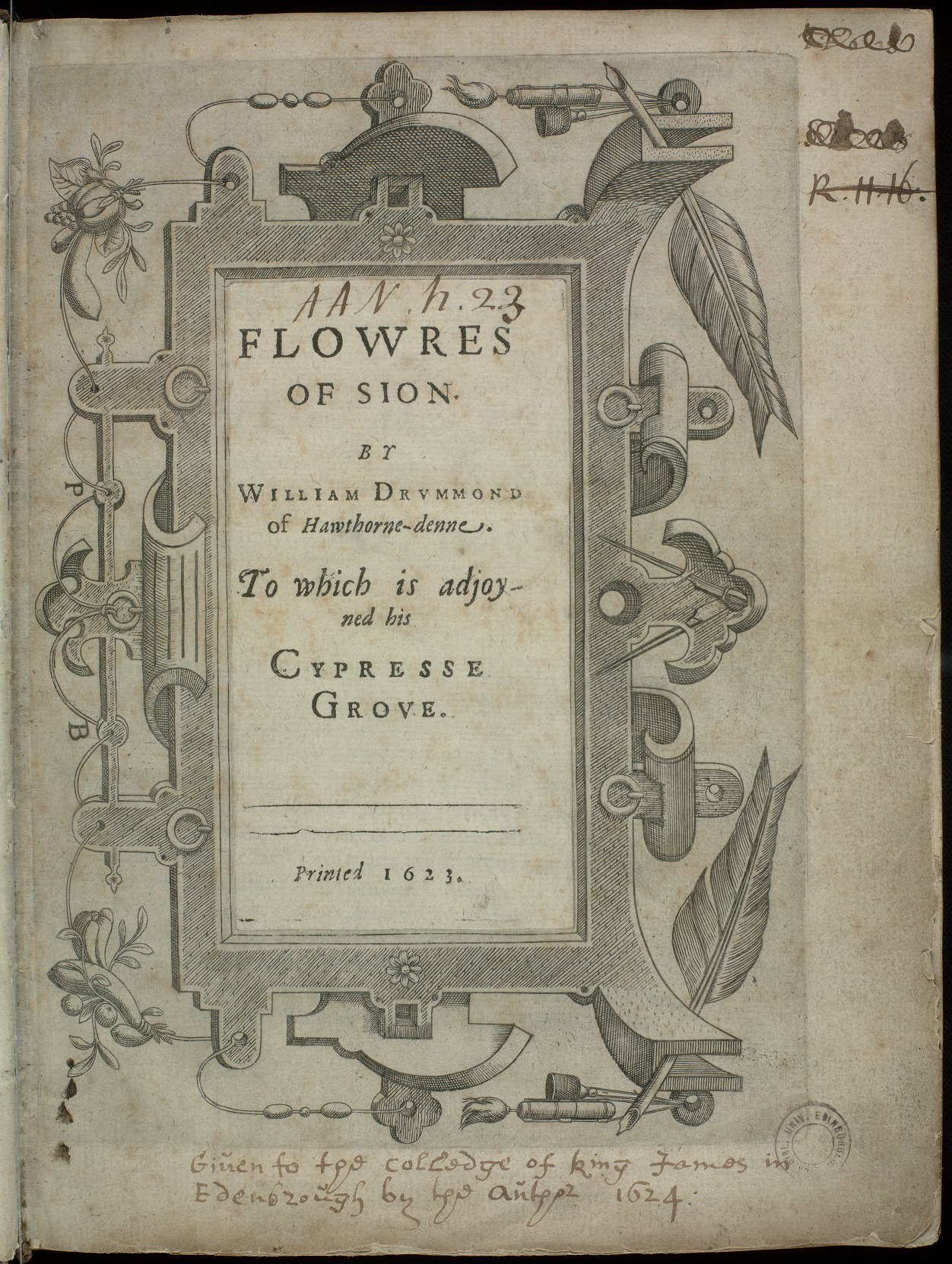 Title page of Flowres of Sion