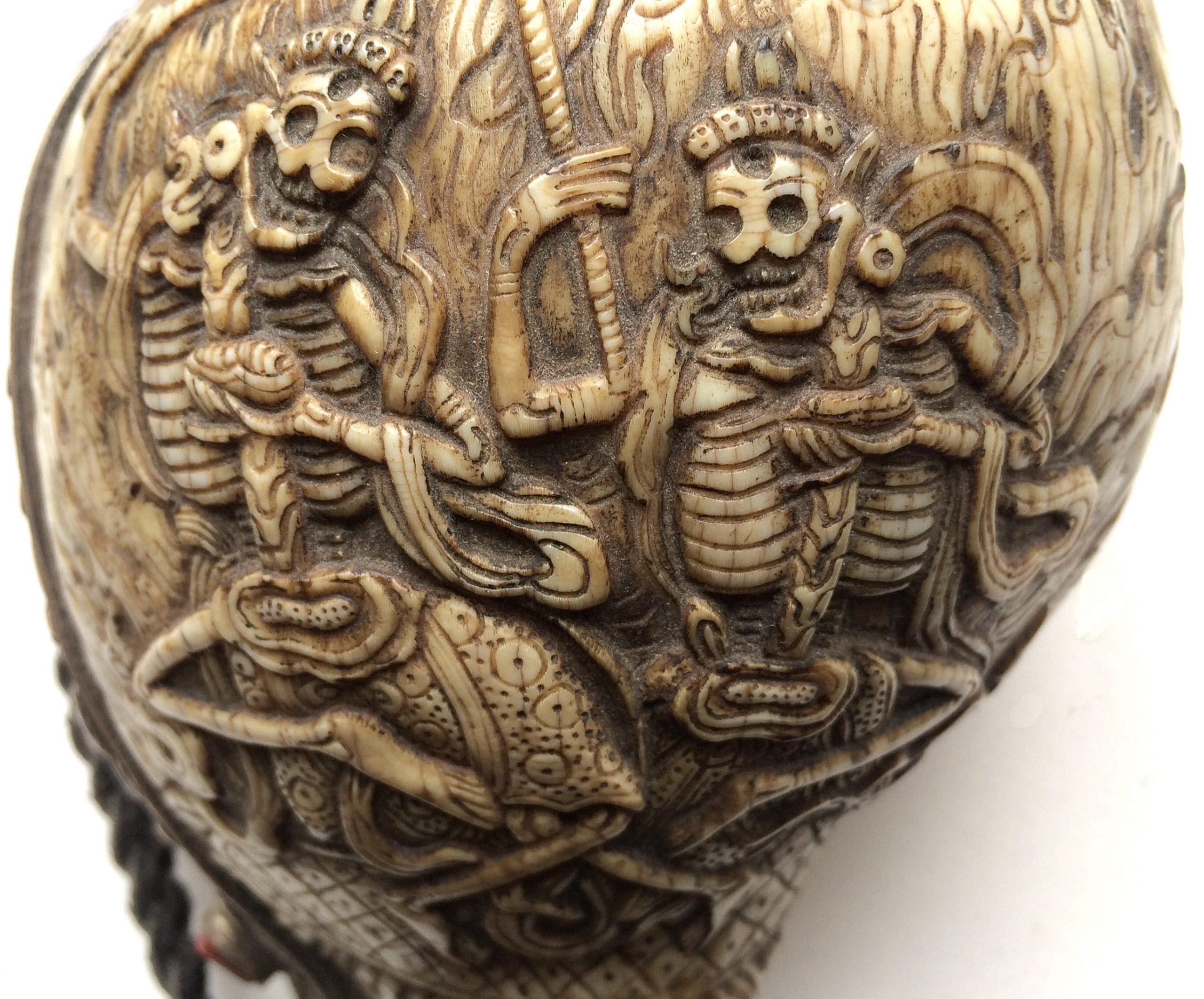 Detail of the dung-Dkar, Tibetan temple conch-shell trumpet