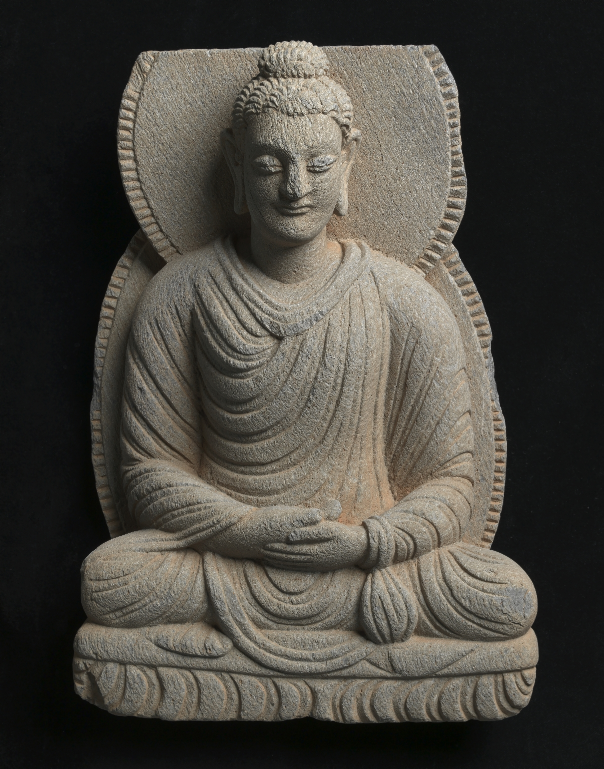 Gandharan sculpture fragments Seated Buddha