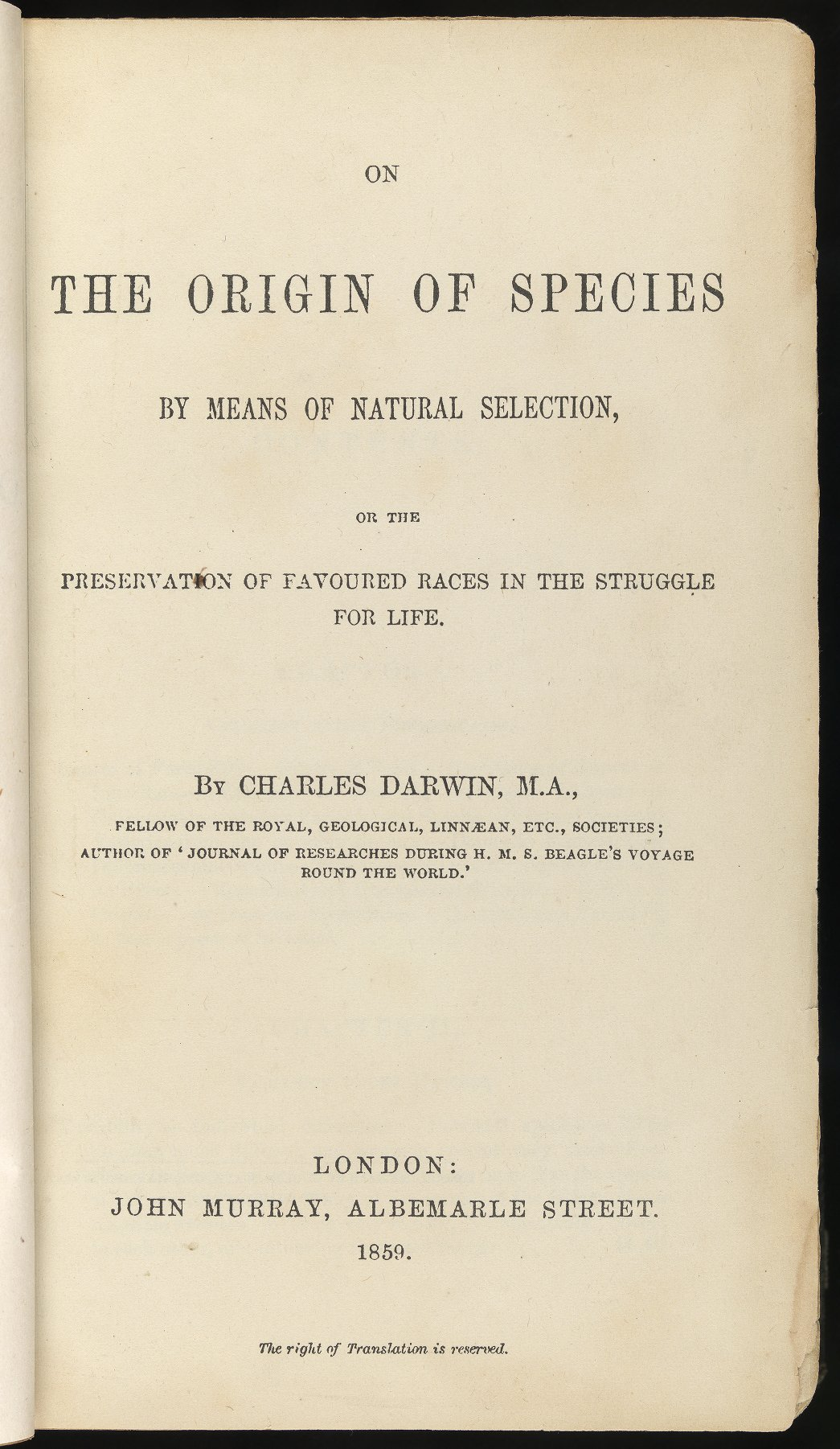 Title page of The Origin of Species